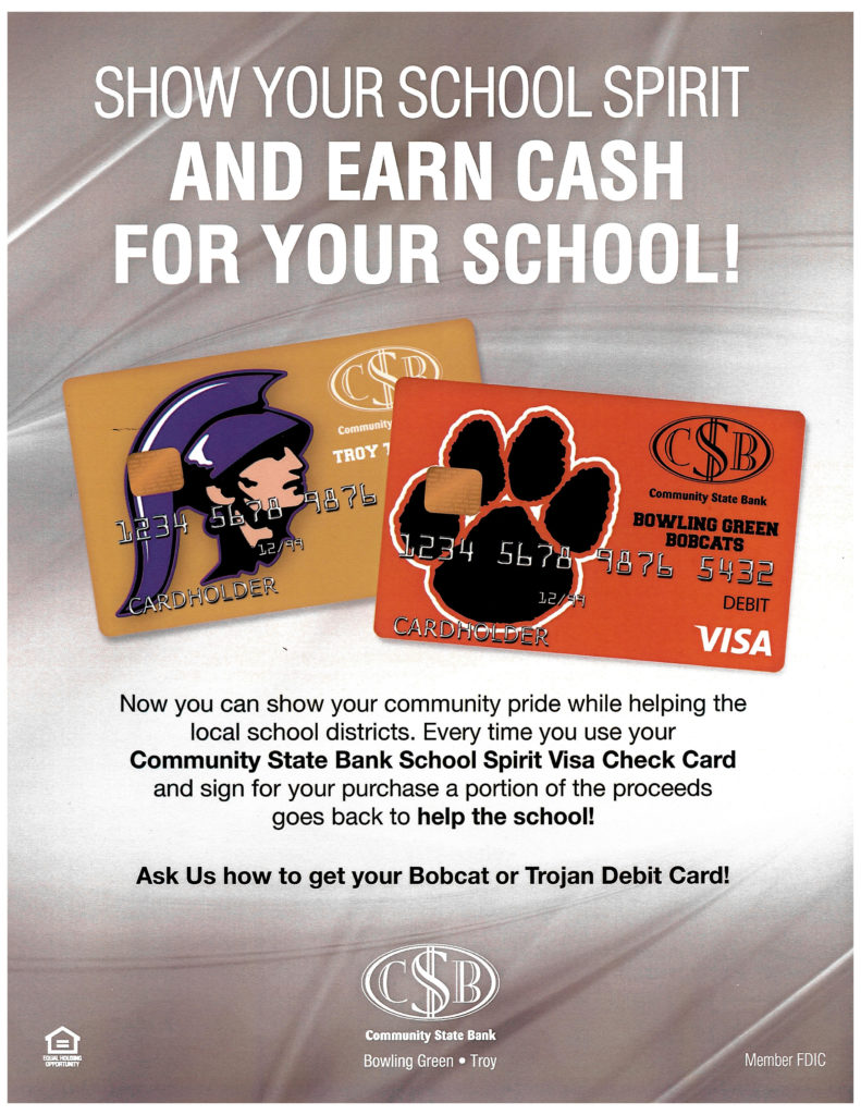 Image shows the Bobcat and Trojan debit cards on a metallic background.